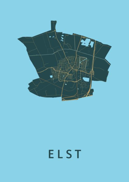 Elst Azure Stadskaart Poster | Kunst in Kaart