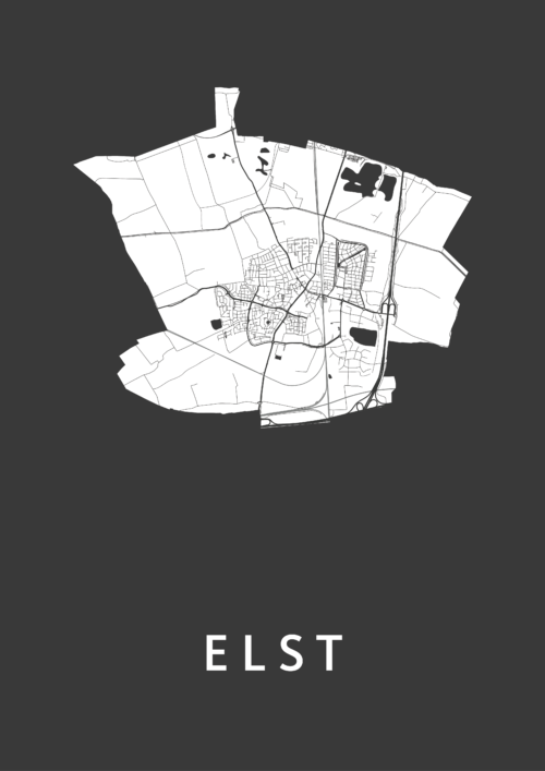Elst Black Stadskaart Poster | Kunst in Kaart