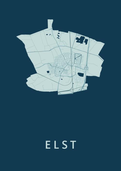 Elst Feldgrau Stadskaart Poster   Kunst in Kaart
