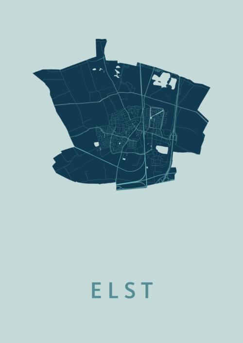 Elst Mint Stadskaart Poster   Kunst in Kaart