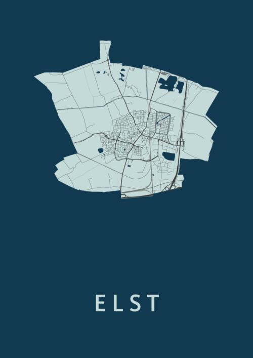 Elst Navy Stadskaart Poster   Kunst in Kaart