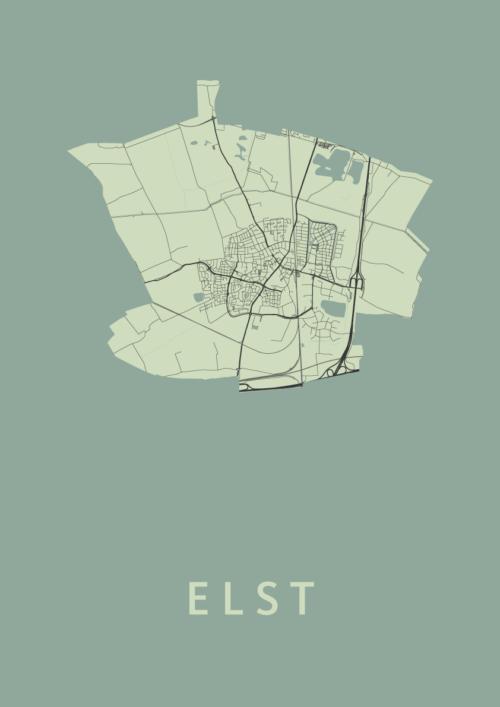 Elst Olive Stadskaart Poster | Kunst in Kaart