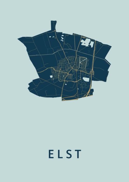 Elst Prussian Stadskaart Poster   Kunst in Kaart