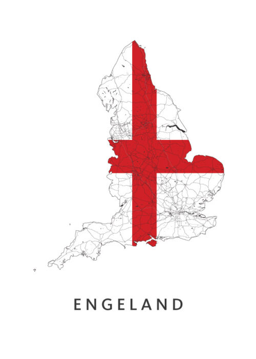 Engeland Landkaart - Landvlag - Poster