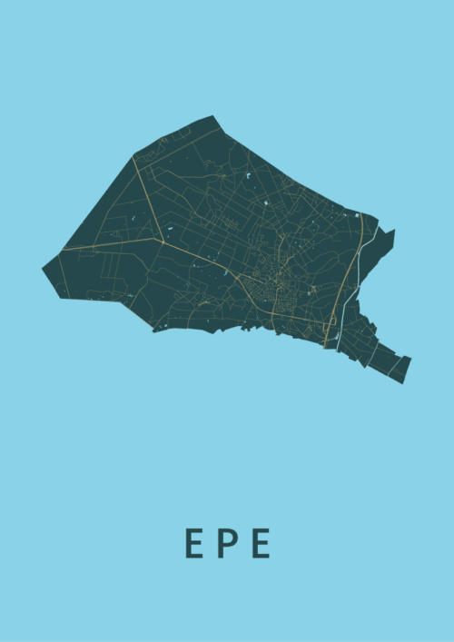 Epe Azure Stadskaart Poster | Kunst in Kaart