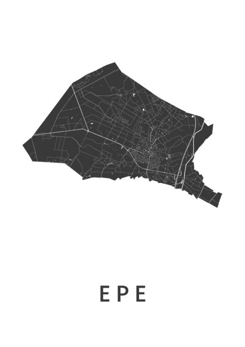 Epe White Stadskaart Poster | Kunst in Kaart