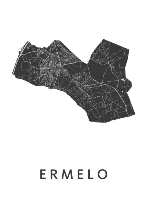 Ermelo White Stadskaart Poster | Kunst in Kaart
