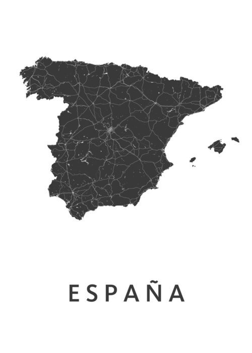 Espana White B2 stadskaart poster