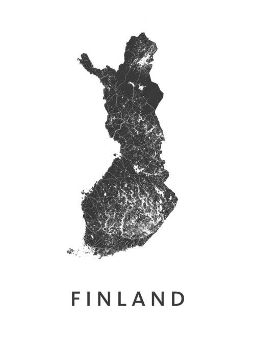 Finland White B2 stadskaart poster