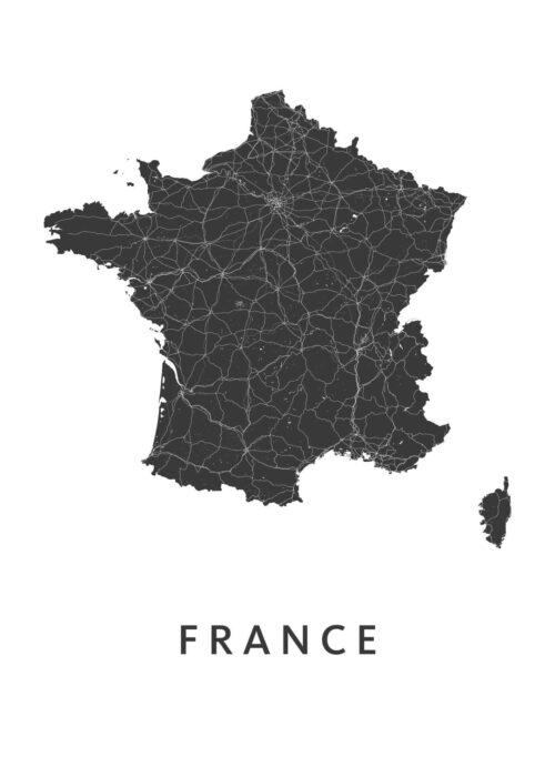 France White B2 stadskaart poster