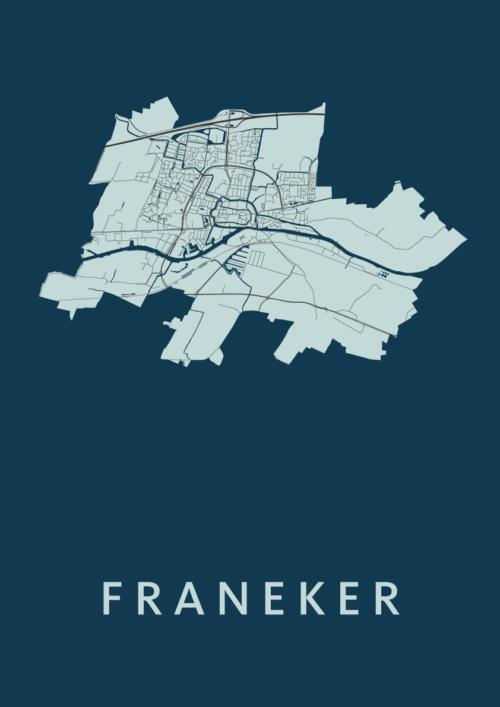 Franeker Navy Stadskaart Poster   Kunst in Kaart