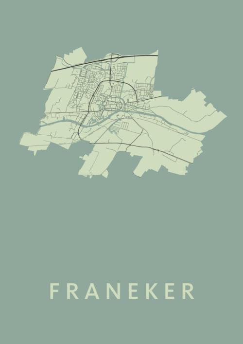 Franeker Olive Stadskaart Poster   Kunst in Kaart