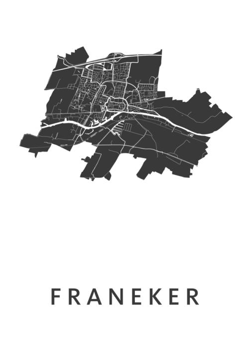 Franeker White Stadskaart Poster | Kunst in Kaart