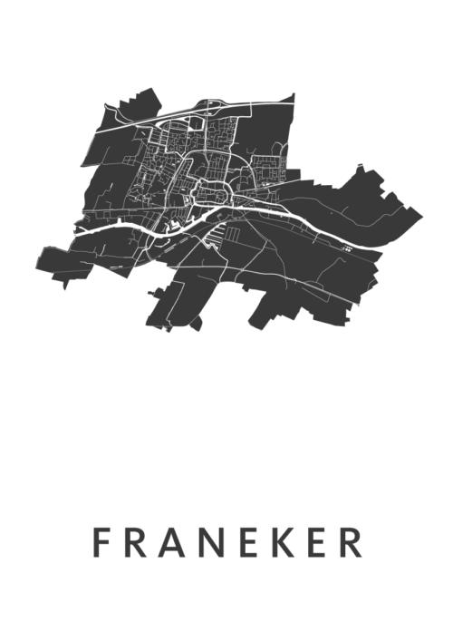 Franeker White Stadskaart Poster   Kunst in Kaart