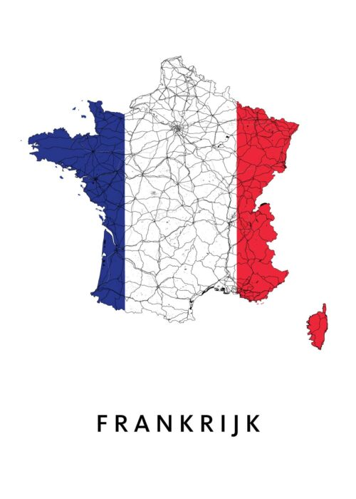 Frankrijk Landkaart - Landvlag - Poster
