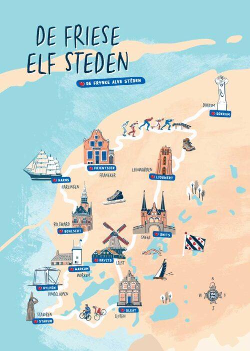 Geïllustreerde kaart Friese elf steden