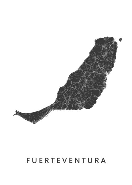 Fuerteventura Stadskaart poster   Kunst in Kaart