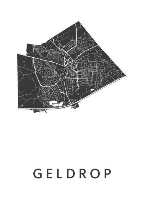 Geldrop White Stadskaart Poster | Kunst in Kaart