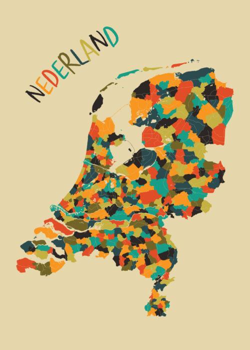Nederland Gemeente kaart Mozaïek Poster