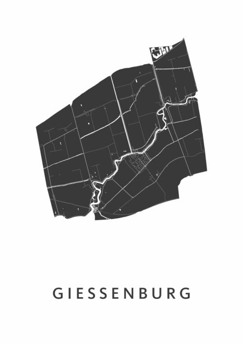 Giessenburg Stadskaart - Wit