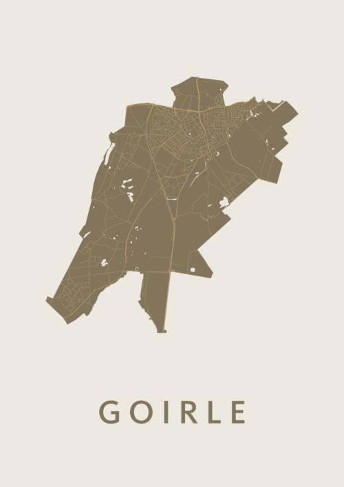 Goirle Gold Stadskaart Poster | Kunst in Kaart