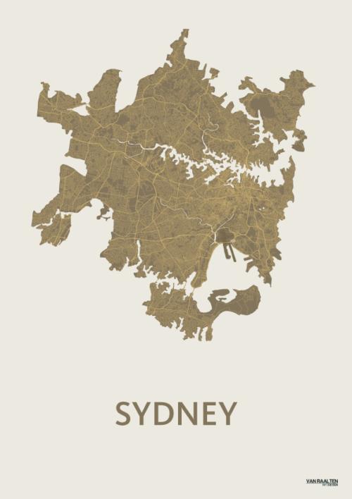 Gold SYD stadskaart poster