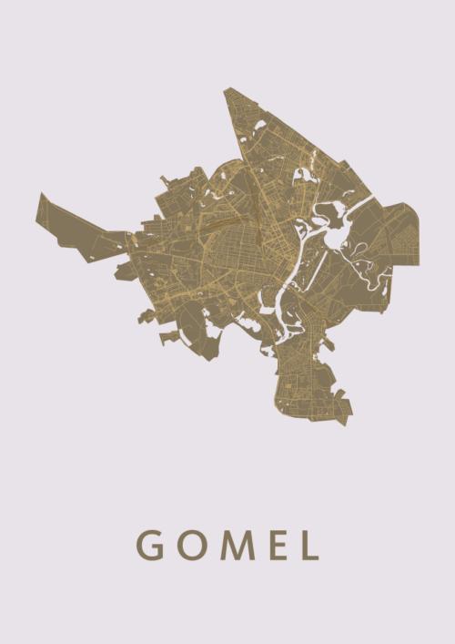 Gomel Gold Stadskaart Poster | Kunst in Kaart
