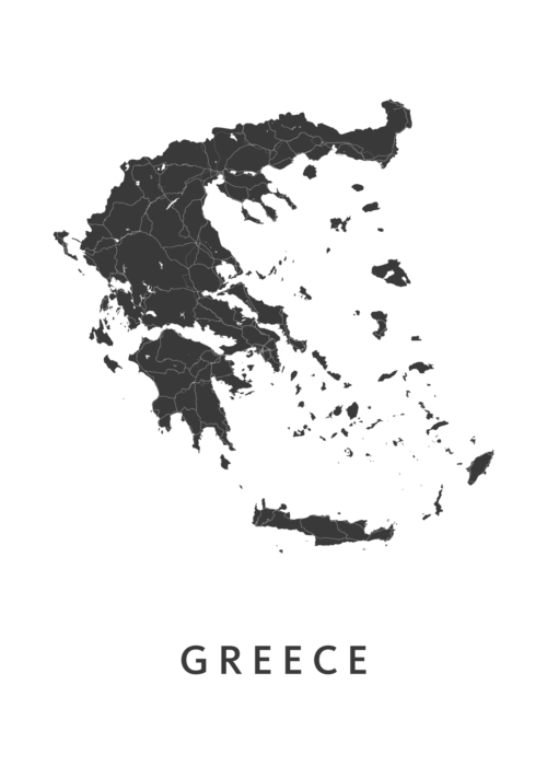 Greece Country Map stadskaart poster