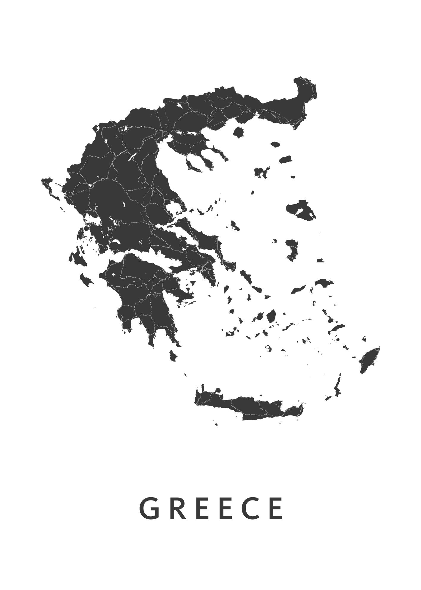 Greece Country Map stadskaart poster
