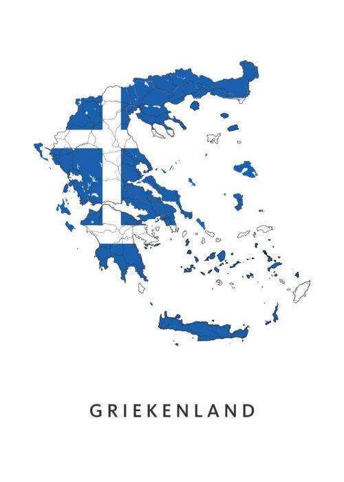 Griekenland Landkaart - Landvlag - Poster