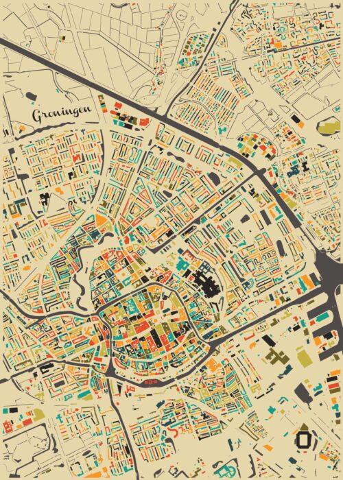 Groningen Autumn Mosaic Map