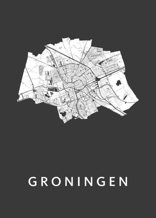 Groningen Black b2 stadskaart poster