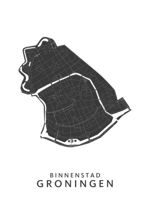 Groningen - De Binnenstad - Kattenbroek Wijkkaart - wit