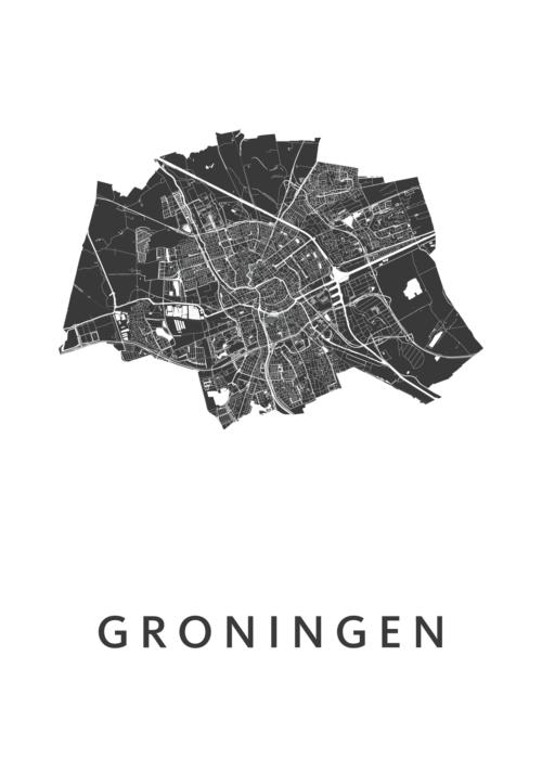 Groningen White Stadskaart Poster | Kunst in Kaart