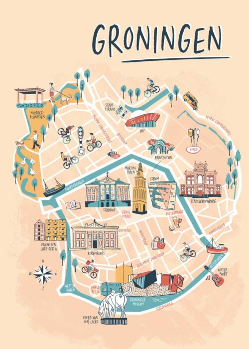 Geïllustreerde kaart - Groningen