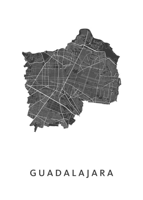 Guadalajara White Stadskaart Poster | Kunst in Kaart