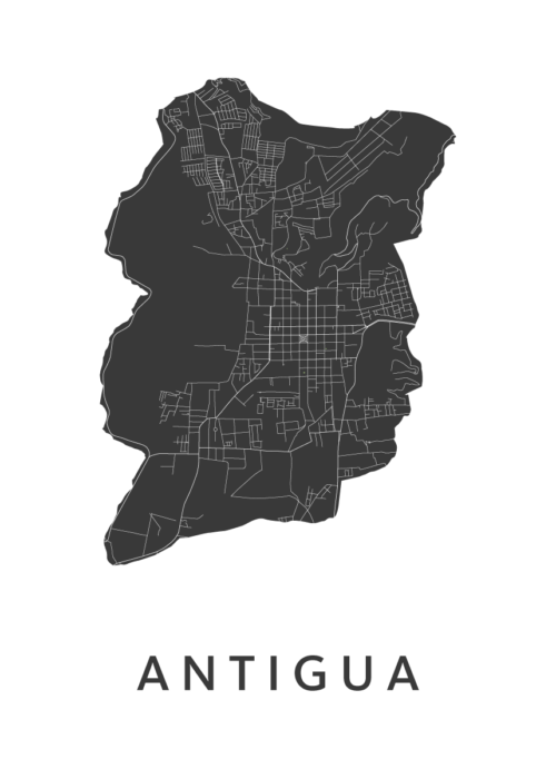Antigua White Stadskaart Poster | Kunst in Kaart