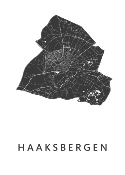Haaksbergen White Stadskaart Poster | Kunst in Kaart