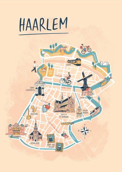 Geïllustreerde kaart - Haarlem Poster