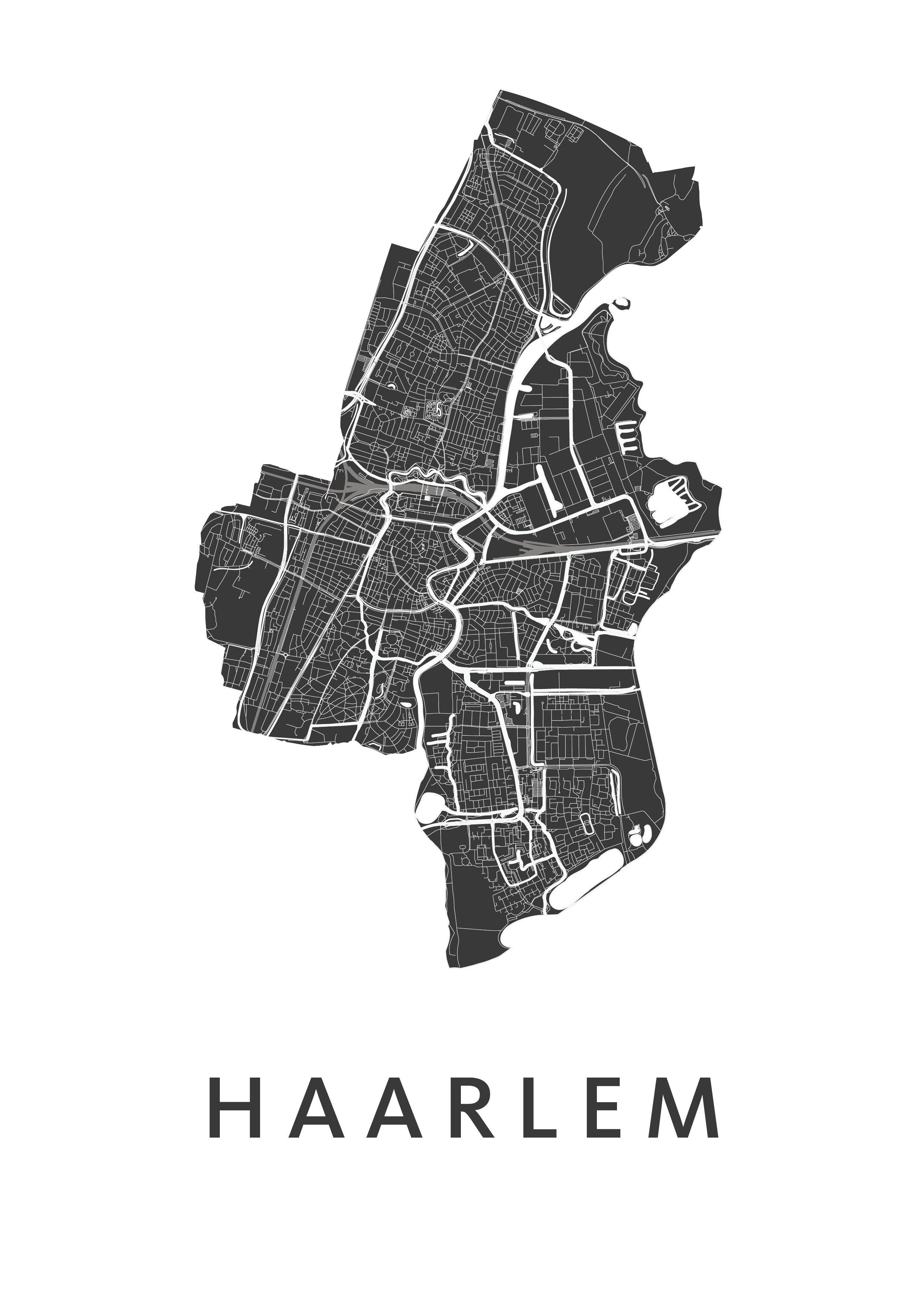 Haarlem White Stadskaart Poster Kunst In Kaart