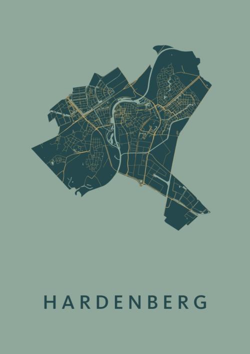 Hardenberg Stadskaart Poster   Kunst in Kaart