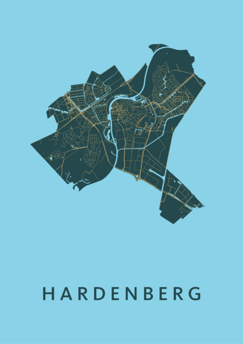 Hardenberg Azure Stadskaart Poster | Kunst in Kaart