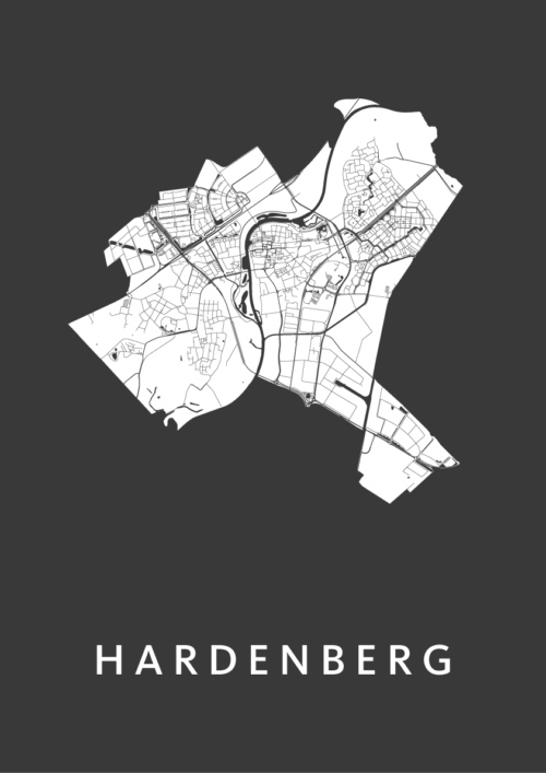 Hardenberg Black Stadskaart Poster | Kunst in Kaart