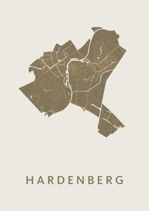 Hardenberg Gold Stadskaart Poster | Kunst in Kaart