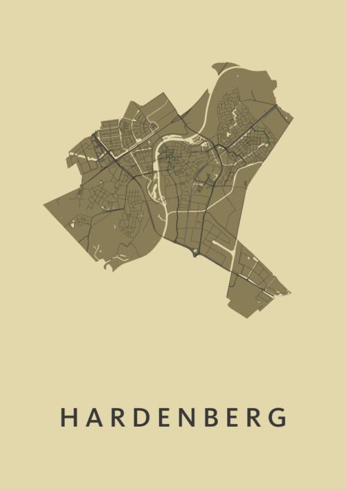 Hardenberg GoldenRod Stadskaart Poster | Kunst in Kaart
