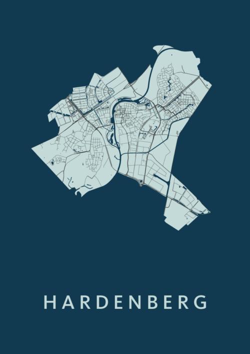 Hardenberg Navy Stadskaart Poster | Kunst in Kaart