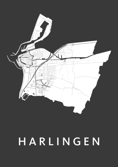 Harlingen Black City Map