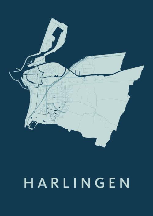 Harlingen_Feldgrau stadskaart poster