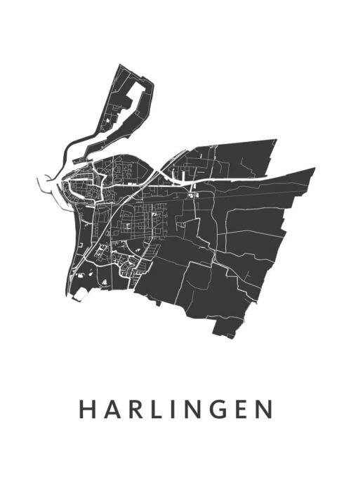 Harlingen stadskaart poster