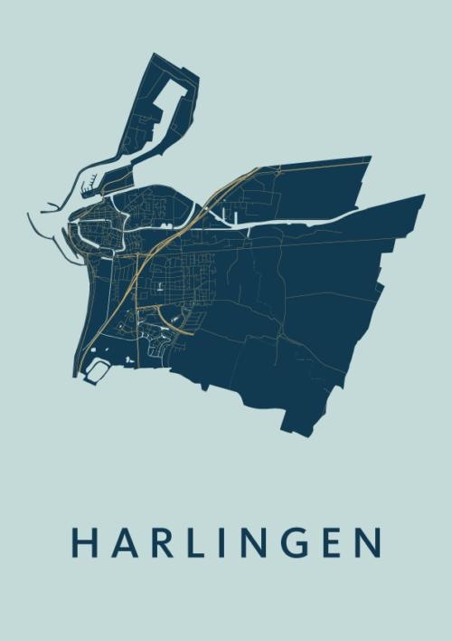 Harlingen Prussian City Map